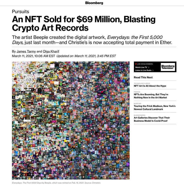 Bloomberg NFT Beeple Headline 2021